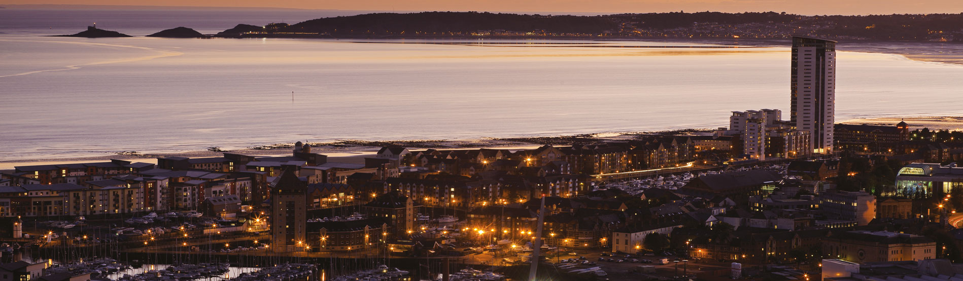 Ariel view of Swansea Bay at Sunset.