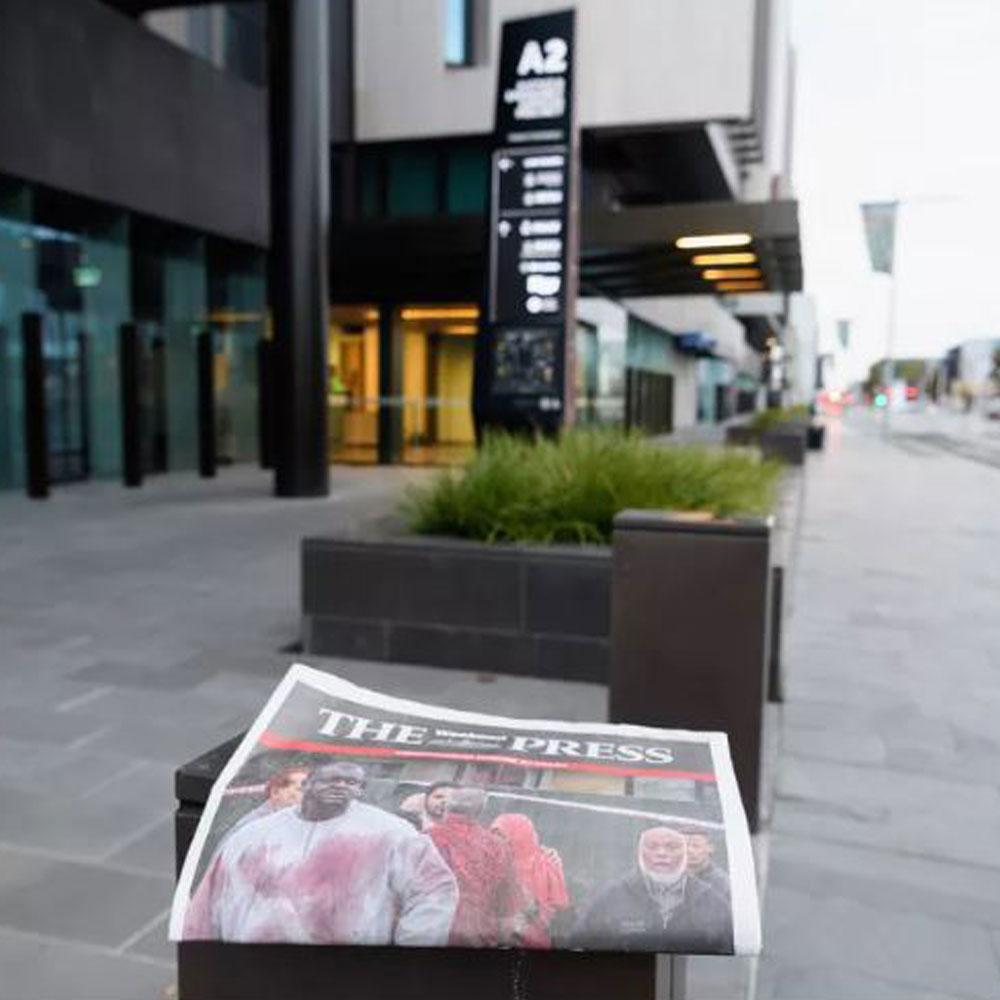 a newspaper outside a courthouse in christchurch