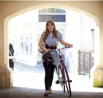 Female with bike near Singleton Abbey.