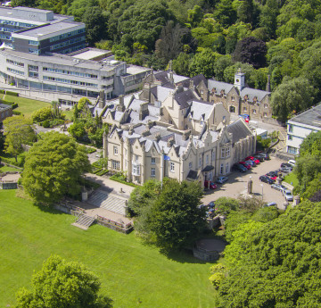 Ariel view of the Abbey on Singleton Campus.