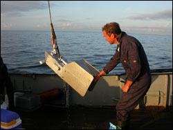 Continuous Plankton Recorder being deployed