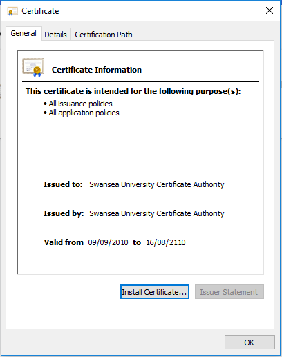 The certificate Information window