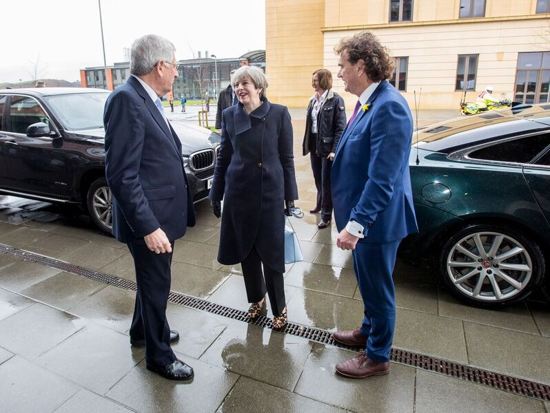 The Vice-Chancellor and Professor Marc Clement greet Theresa May