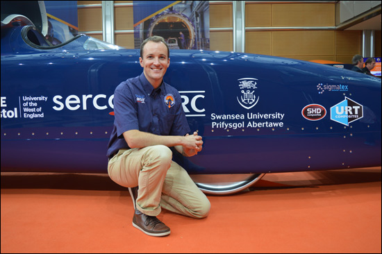 Dr Ben Evans with BLOODHOUND SSC