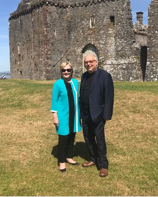 Hillary Rodham Clinton and Professor Mike Sullivan at Woebly Castle, Gower Peninsula in June 2018