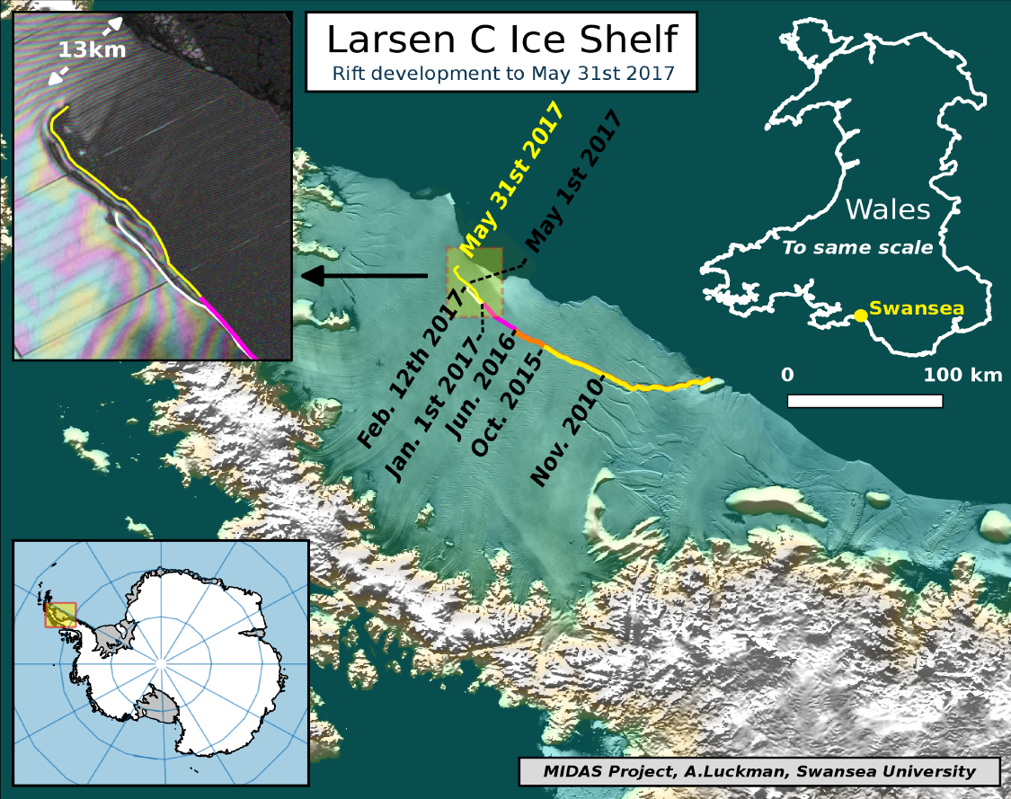 Larsen C ice rift map 31 May 2017