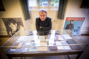 Jeff Towns with part of his collection of Dylan Thomas writings and memorabilia.