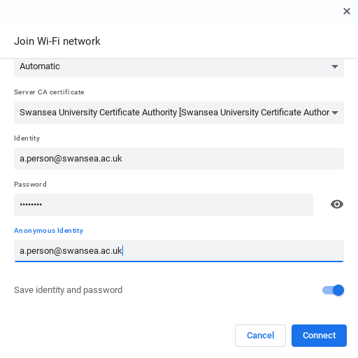 Screenshot of the bottom half of the Join Wi-Fi network screen, showing an example username a.person@swansea.ac.uk in the Identity and Anonymous Identity fields, and 8 dots representing password characters in the Password field. At the bottom of the screen the Save Identity and Password setting is switched on, and there is a Connect button.