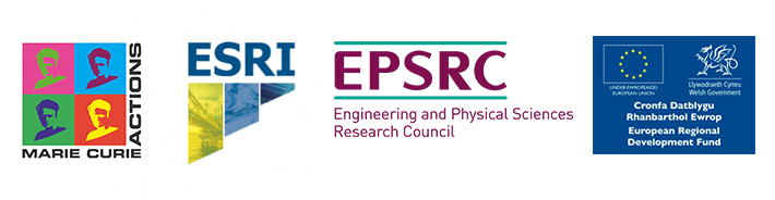 Logos of Marie Curie, ESRI, EPSRC and ERDF