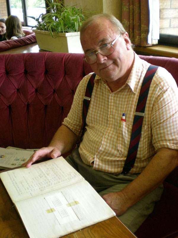 Rod Delamare in May 2008, with his 1961 programming exercise book