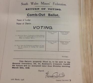 South Wales Miners' voting form