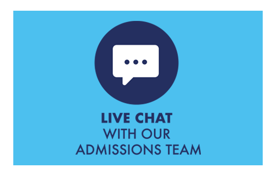 'Chat live with our admissions team' graphic with a speech bubble icon