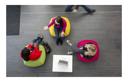 Aerial view of students sat on bean bags