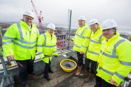 Jane Hutt topping out at Bay campus 20 Feb 14