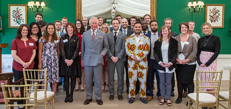 Students at Princes Foundation Graduation with Prince Charles