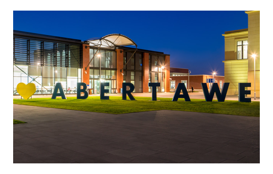 Engineering central on Bay Campus with giant Abertawe letters