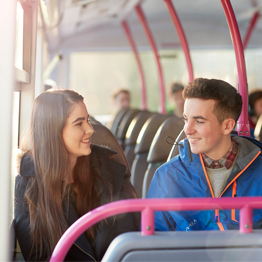 Two students on the Unibus