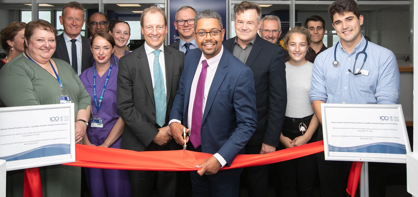 Health Minister Vaughan Gething officially opens the new Aneurin Bevan Clinical Skills Centre alongside senior staff from Swansea University including Vice-Chancellor Professor Paul Boyle, nursing and medical students.