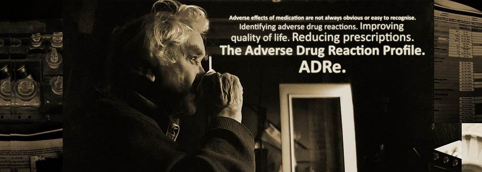 Image of elderly man and text explaining the benefits of adverse drug reaction profiles.