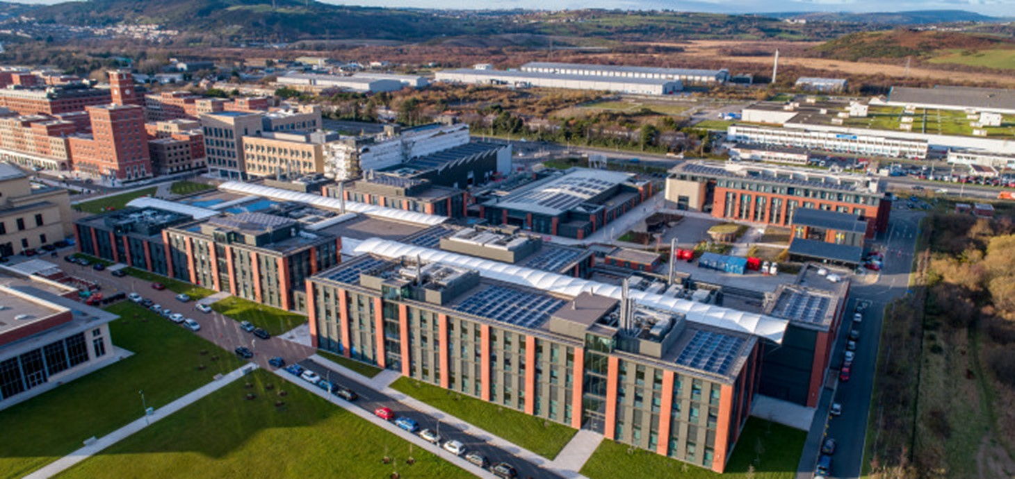 An aerial view of Swansea University's Bay Campus where the symposium will be held on September 18