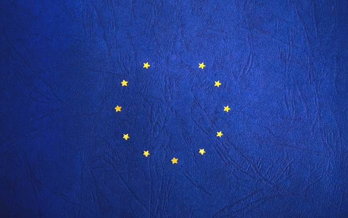 European Union flag with one star missing.