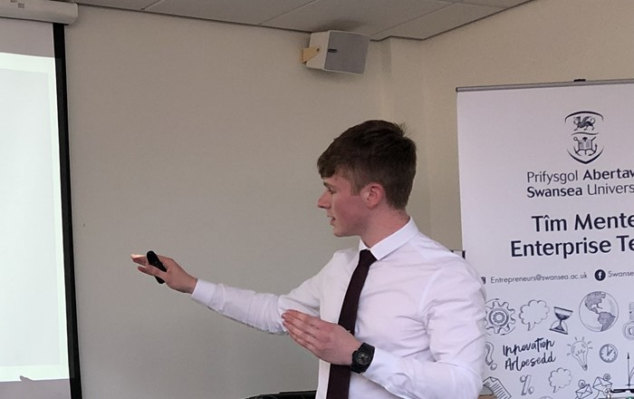 Jack Davies, from the College of Engineering, who secured the highest individual cash award of £1,250 at the Test Your idea-Accelerator Programme.
