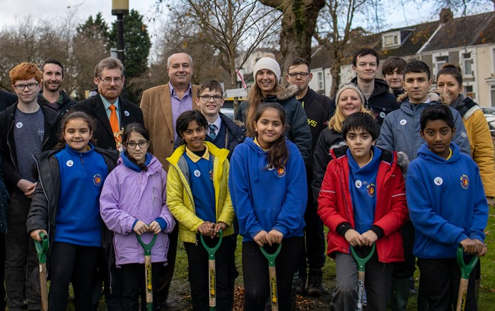 University and Swansea Tree Forum plant trees for National Tree Week
