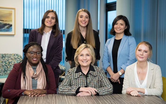 Hillary Clinton with the recipients of the Global Challenges Scholarships.