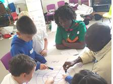 Zambian teachers working with Swansea pupils