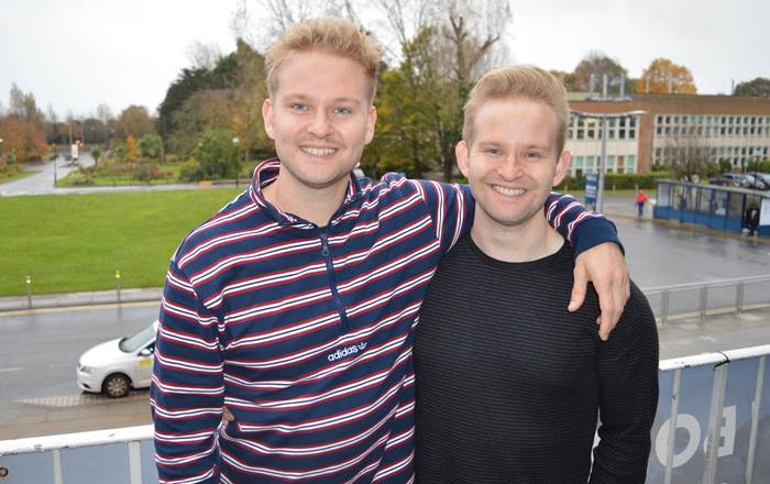 Alex (left) and Will Carroll-Adams who are now both studying medicine at Swansea University Medical School.