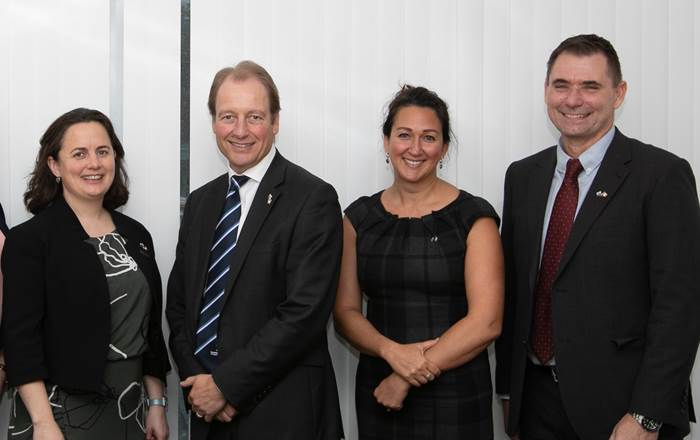 Consul General Denise Hanrahan, Swansea University Vice-Chancellor Prof Paul Boyle, Prof Shareen Doak and Prof Steve Conlan at Swansea University