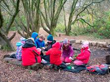 Children from Crwys Primary having a lesson in woodland, as part of the school's outdoor learning