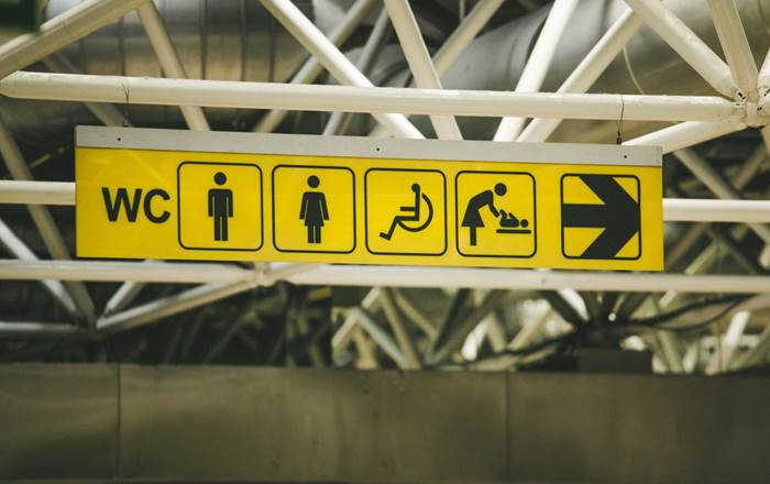Toilet signs at airport