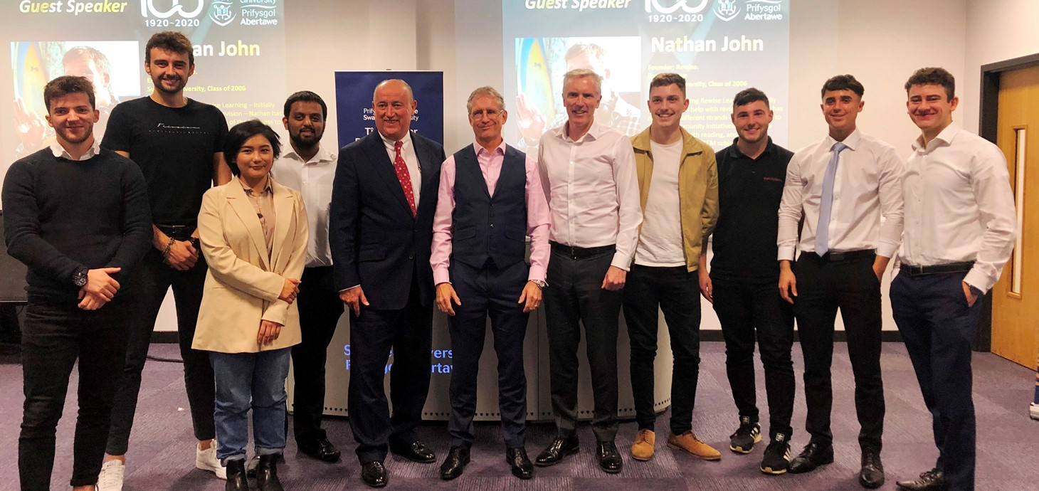 The three mentors Huw Hampson-Jones, Andrew Overton and Simon Saxby are pictured with the students who took part in the Start-up to CEO event.