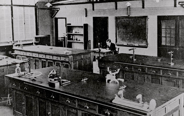 Swansea University's history of scientific education goes back to the 1920s when the city also boasted the West Wales College of Pharmacy. Pictured is the general laboratory in the University's physics department.