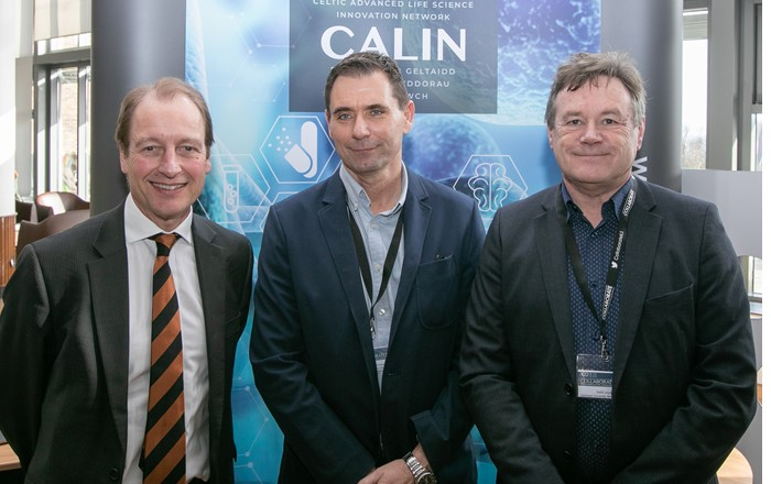 Vice-Chancellor Paul Boyle with CALIN director Steve Conlan and head of Swansea University Medical School Keith Lloyd at the Collaborate 2020 conference.