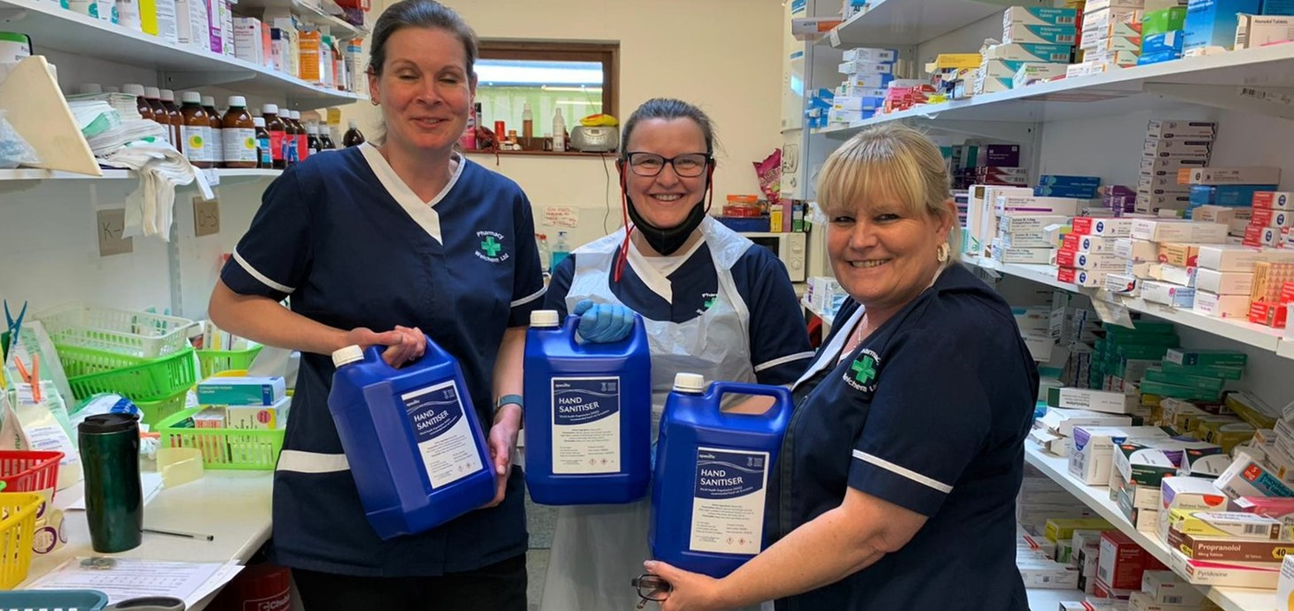 The team at Ty'r Felin Surgery, Gorseinon, pictured with the sanitiser manufactured by Swansea University which is being used to help the NHS in Wales tackle the coronavirus