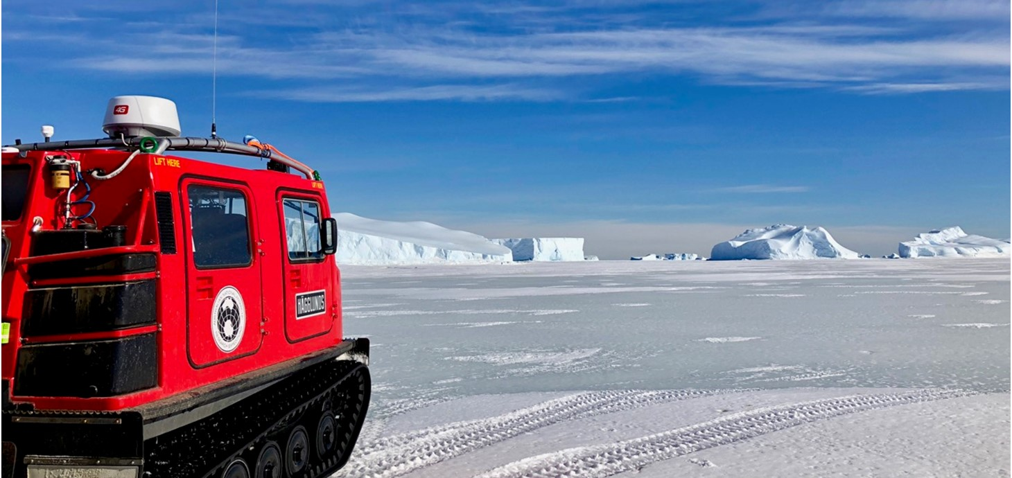A Haeglund over-snow vehicle used by Antarctic researchers for fieldwork