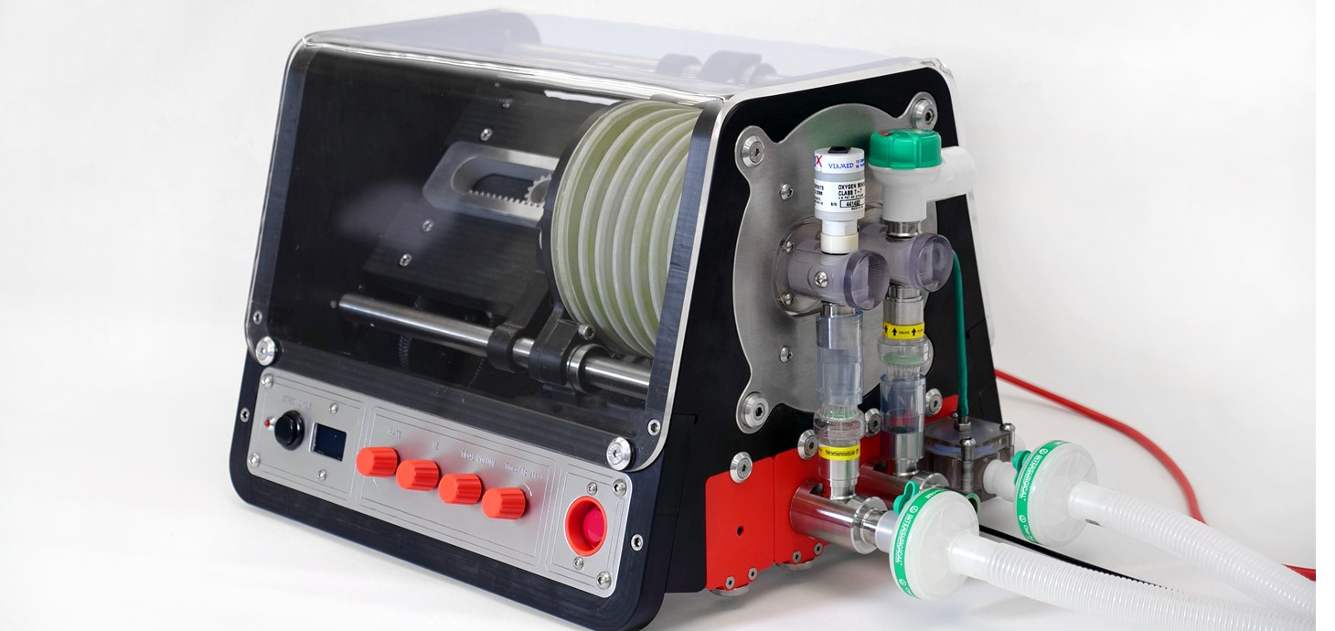The CoronaVent ventilator, which can be built easily from generic parts and plastic panels.