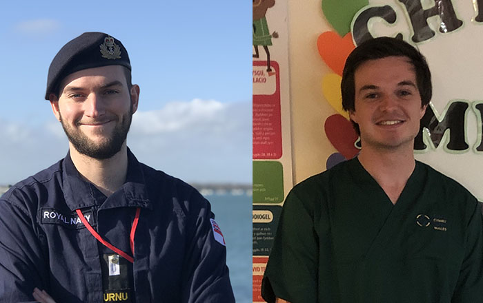 Medical student Robert Jones is now a health care assistant working at Morriston Hospital while Samuel Murkin, who is studying for a master's in mechanical engineering, is helping to share vital messages for Avon and Somerset Police.