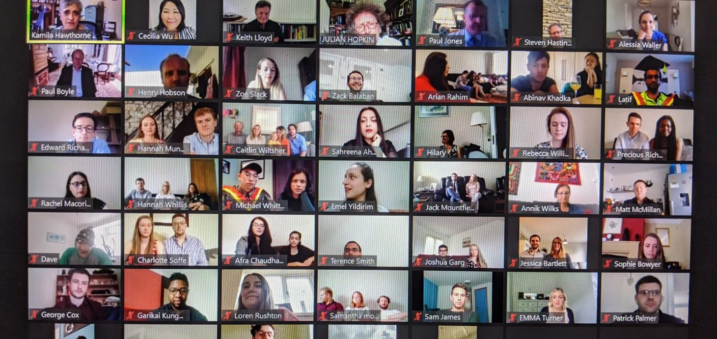Successful medical students taking part in Swansea University's first ever virtual graduation celebration.