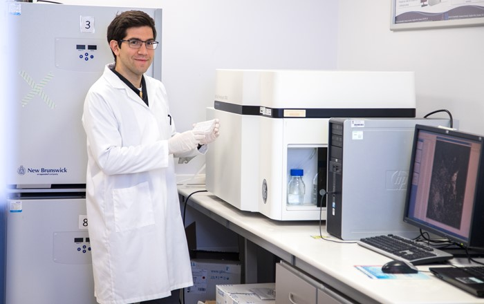 Marcos Quintela  senior researcher for CEAT in a laboratory at Swansea University Medical School.