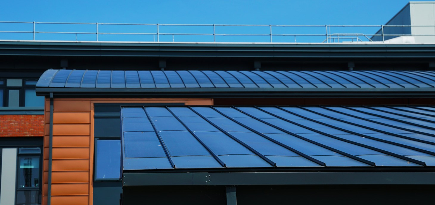 Roofs of Active Buildings at Swansea, which have integrated solar panels