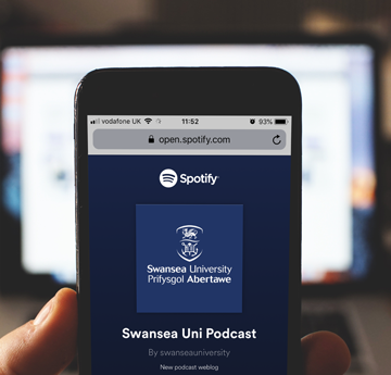 Iphone showing Swansea University podcasts on Spotify