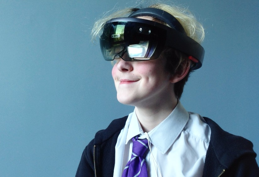 A key stage 4 pupil uses hololens technology