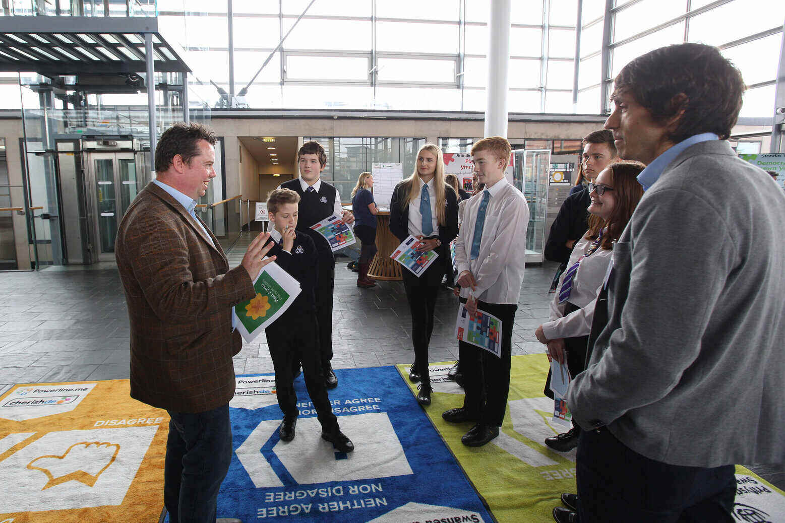 Matt Wall at Senedd with young people