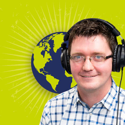 Ian Mabbett with headphones on podcast logo