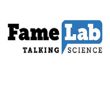 FameLab talking science logo with smoke