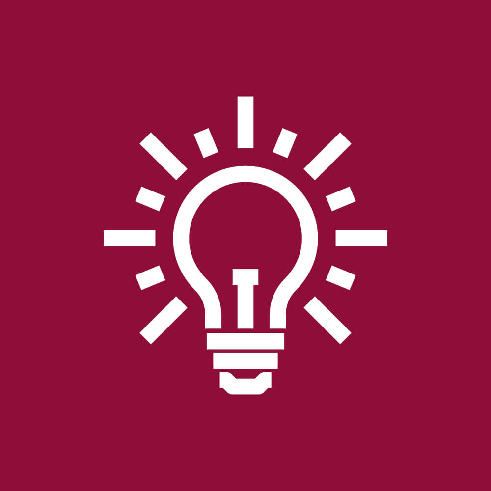 Light bulb icon with resilience, problem solving and personal effectiveness below