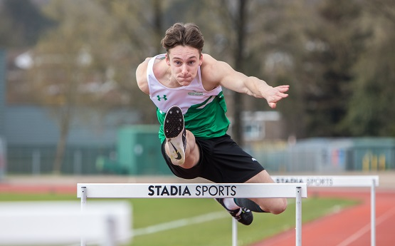 Hurdler in action